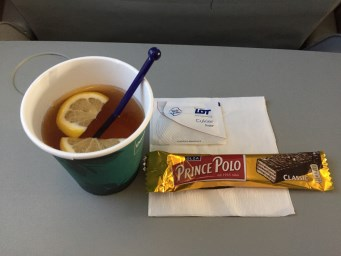 LOT airlines, we got a drink and a snack on the short 2 hour flight