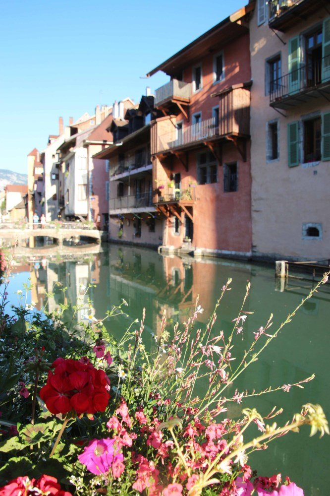 Annecy with colorful flowers