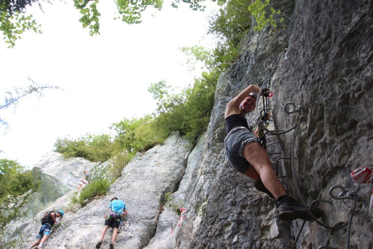 Start of the via ferrata lac du vouglans