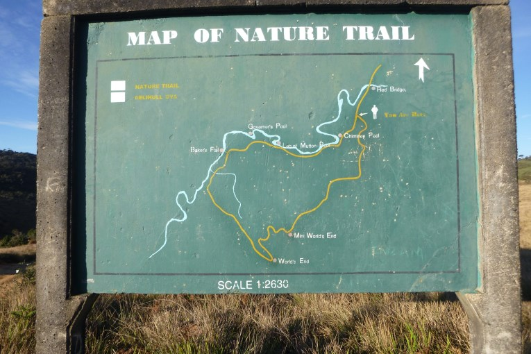 Map Horton Plains trail, Map to World's End
