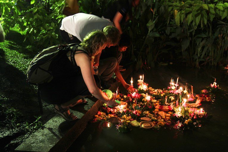 Us floating a Krathong