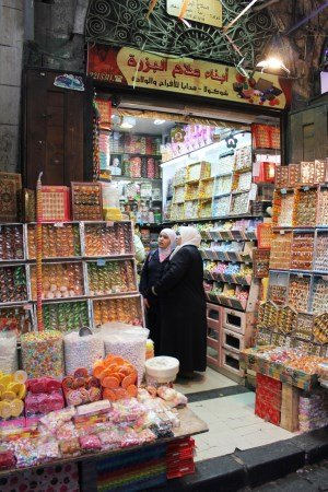 Market in Damascus, so many sweets!