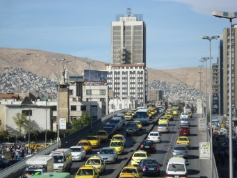 Modern Damascus, of course with traffic jams.