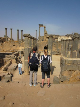 With our backpacks in Bosra, together with my friend Dario from Italy.