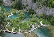 Plitvice lakes, bridge next to waterfall