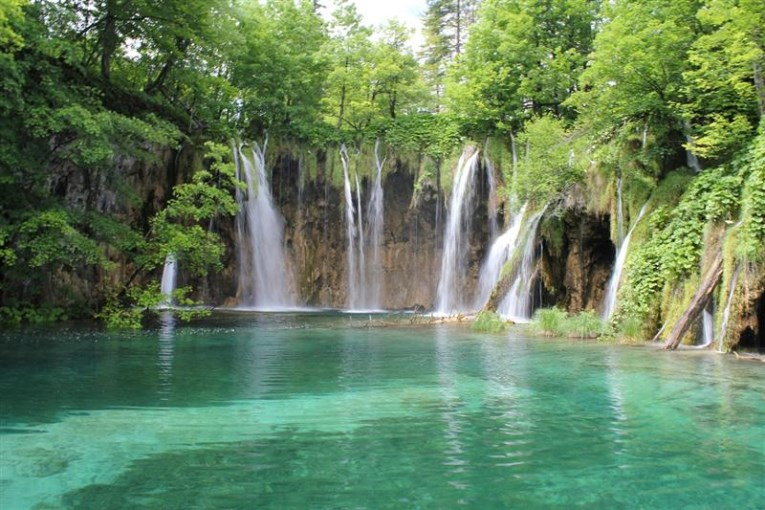 Plitvice lakes, waterfall with clear blue water